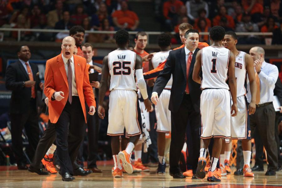 Illinois%27+head+coach+John+Groce+reacts+to+the+officials+after+calling+a+timeout+during+the+game+against+Indiana+at+State+Farm+Center+on+Jan.+18.+The+Illini+lost+80-74.