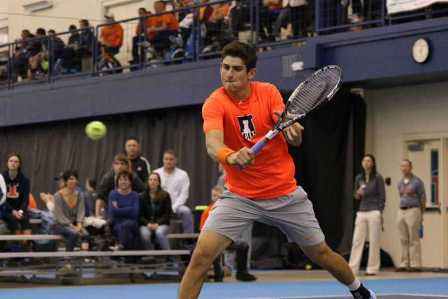 Illinois%27+Jared+Hiltzik+attempts+a+short+return+during+the+tennis+game+vs.+Ohio+State+at+Atkins+Tennis+Center+on+Sunday.+Illinois+won+4-0.