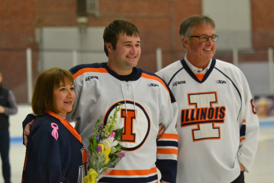 Zoe Grant The Daily Illini Ricky Kokoszka (6) is acknowledged during Senior Night at the University of Illinois Ice Arena on February 28, 2015.