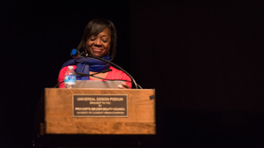 Motivational+speaker+Endalyn+Taylor+smiles+as+she+concludes+her+speech+during+the+Black+Women+Rock%21+Awards+Ceremony+at+Lincoln+Hall+on+Saturday.