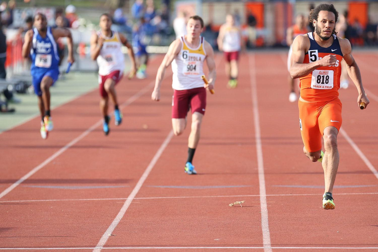 Illinois' DJ Zahn, pictured in a meet from April 2014, was part of the 4x400 meter relay that finished with a time of 3 minutes and 6.58 seconds, the fourth-best time of the NCAA Indoor Championships over the weekend.