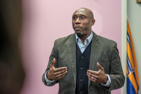 Dr. F. Willis Johnson, a pastor from Ferguson, Missouri, talks about his experiences during the Ferguson unrest at the Bruce D. Nesbitt African American Cultural Center on Friday, March 6.