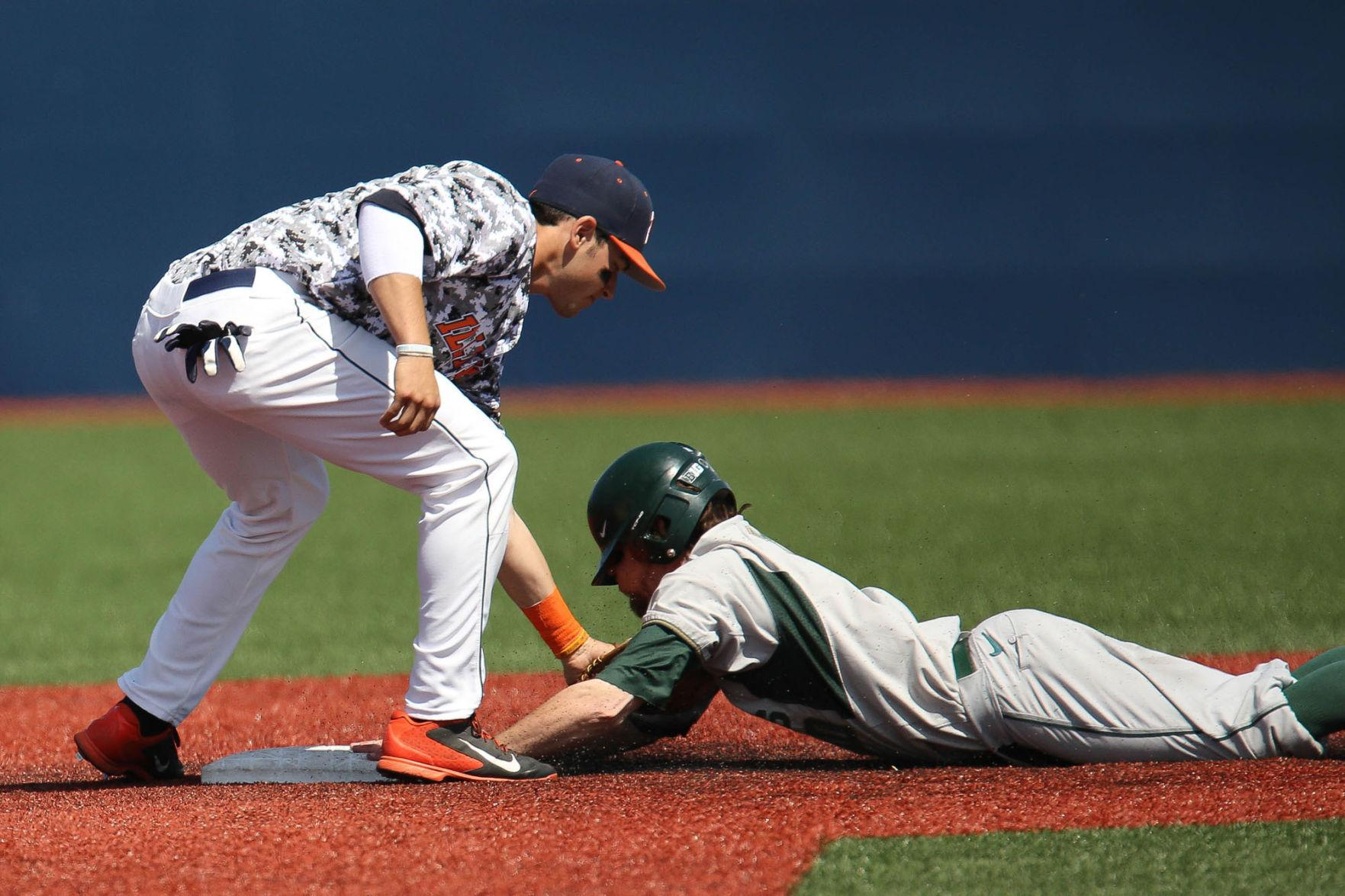 Illinois' Adam Walton tags for an out during the game against Michigan State. Walton was instrumental in the Illini's 6-2 win over Oklahoma State.