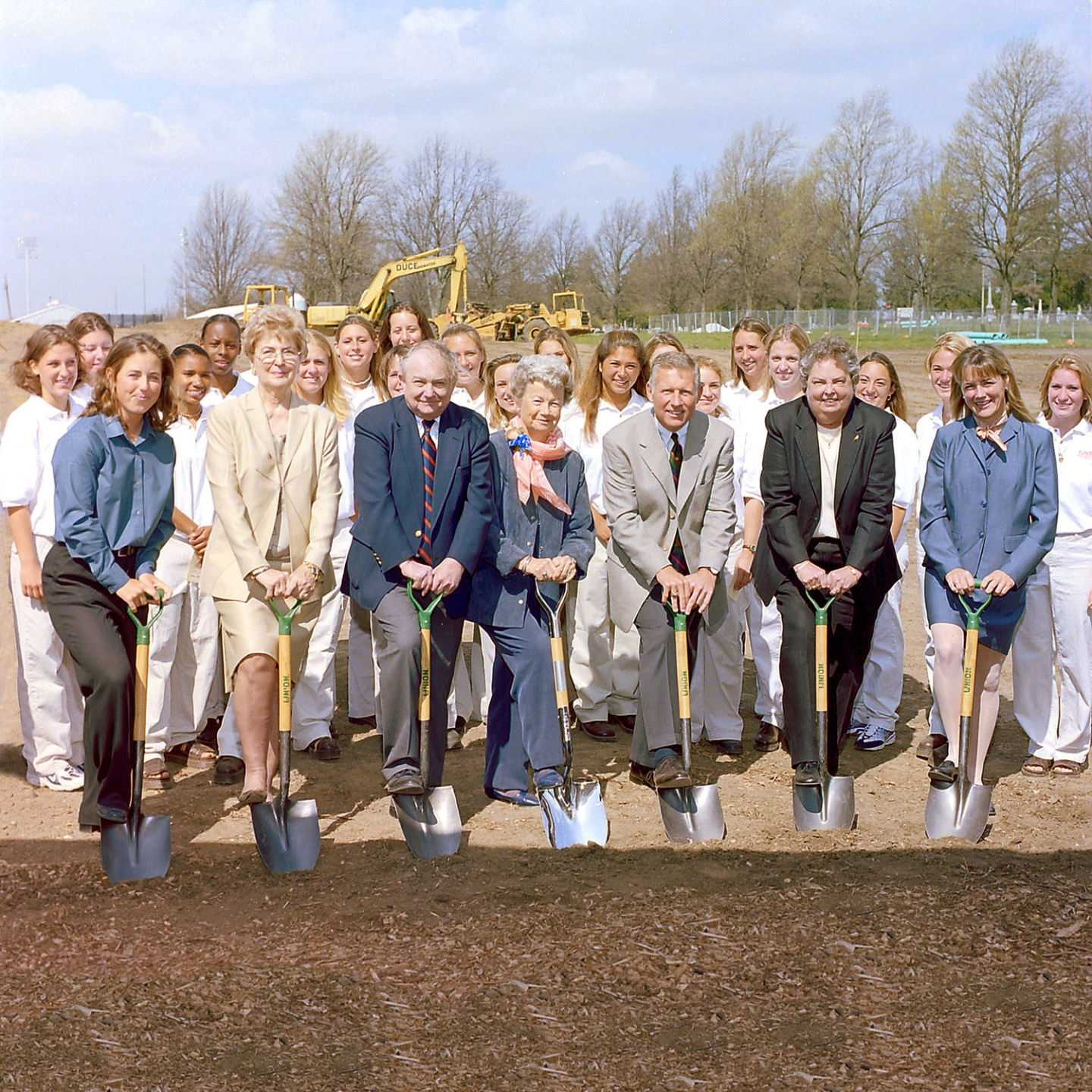 Shorty Eichelberger joined members of the Illinois softball team and DIA staff and at the Eichelberger Field Groundbreaking Ceremony April, 2000.
