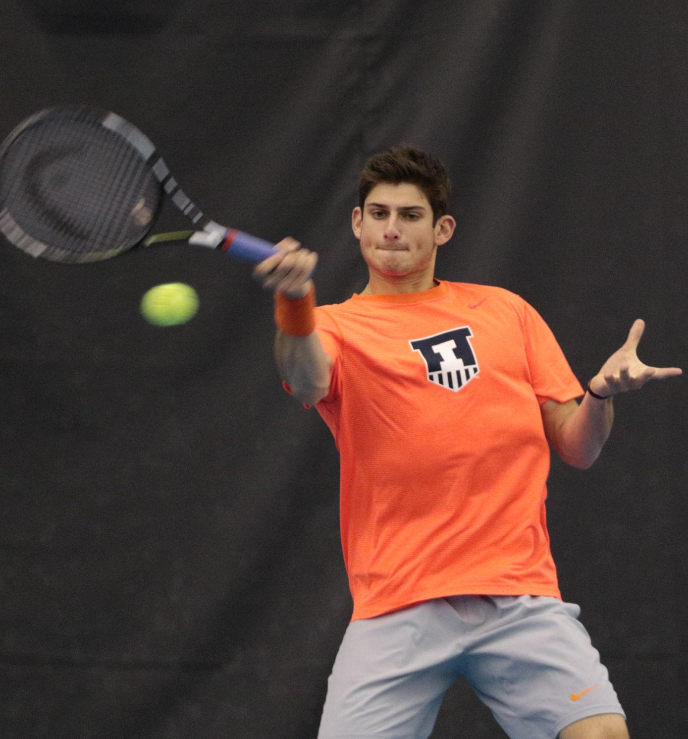 Illinois' Jared Hiltzik makes a return during the tennis game v. Northwestern at Atkins Tennis Center on Friday, Feb. 20. Illinois won 5-2.