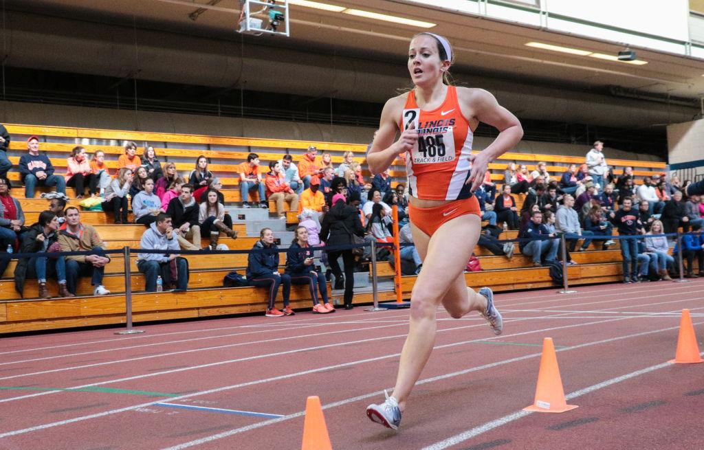 Illinois' Colette Falsey (485) runs in the 1 Mile Run event at the Orange & Blue meet at the Armory on Saturday, Feb. 21. Illinois' women's team won 1st place out of 5.