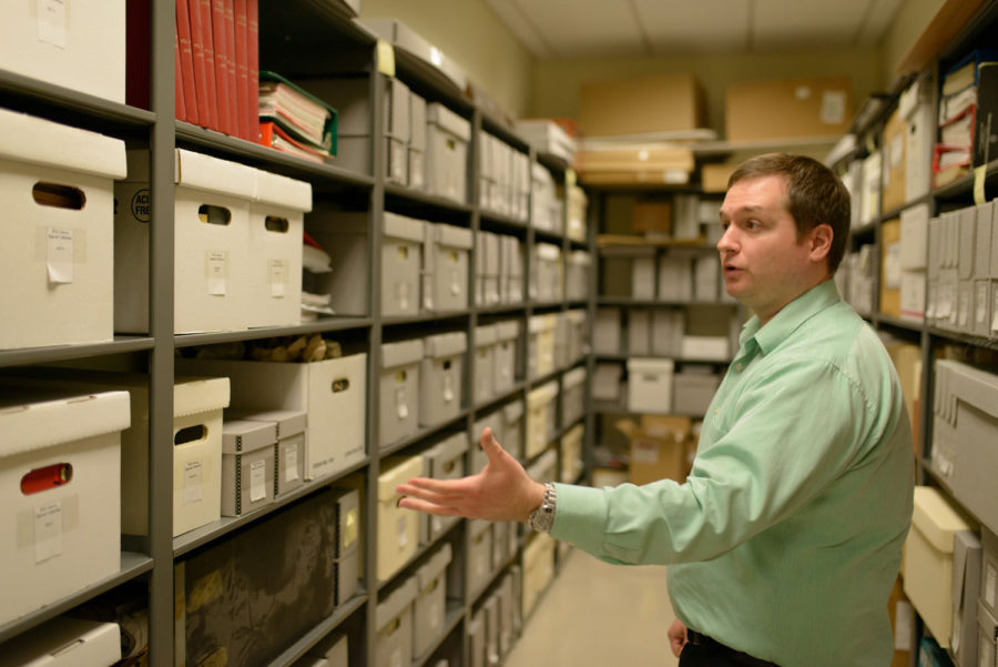 Devid Ehrenhart, archivist and metadata librarian, goes in depth about the contents of the archive at the Illinois Fire Service Institute Library on Tuesday.