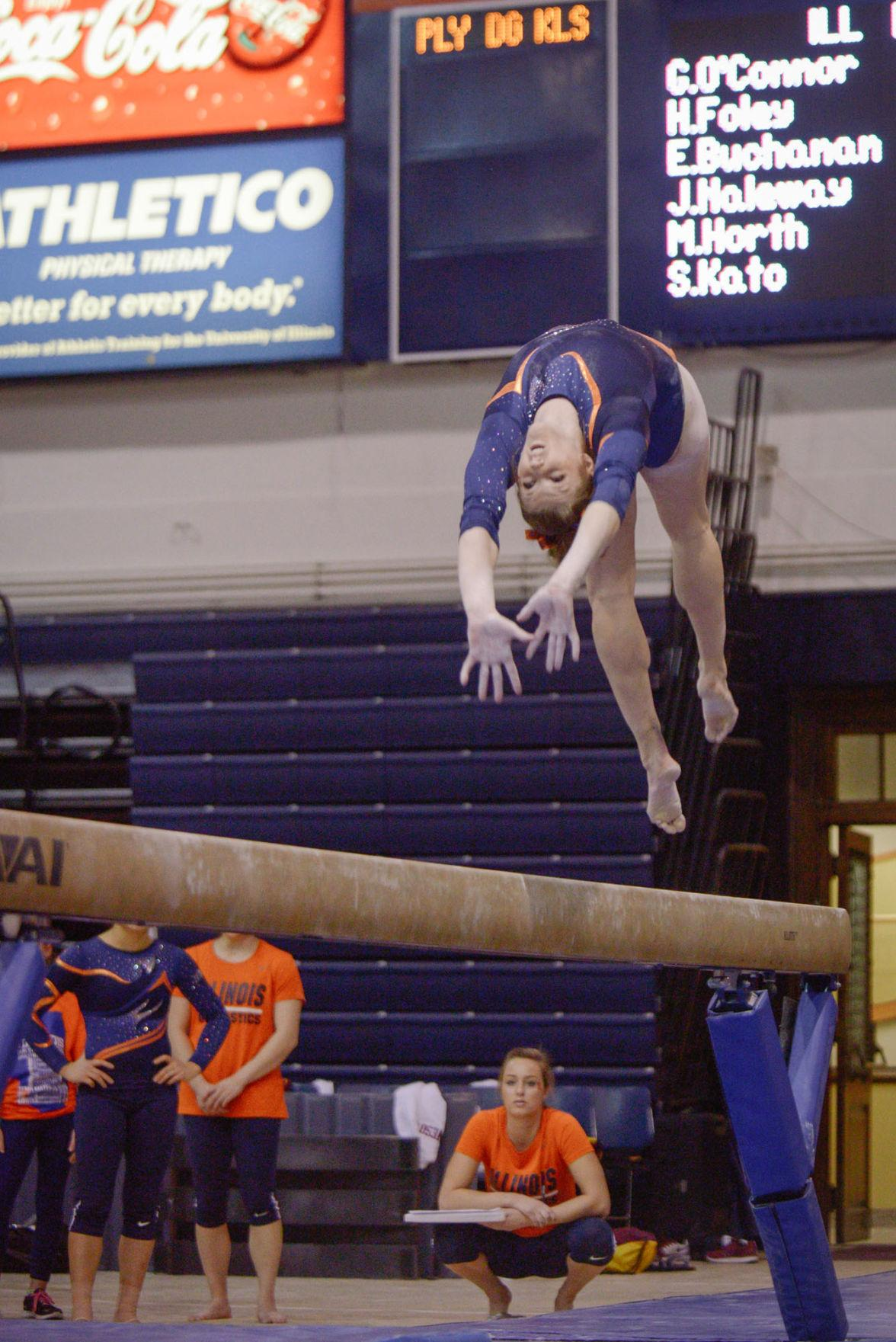 Illinois' Mary Jane Horth performs a routine on the balance beam during the meet against Minnesota at Huff Hall on February 7. The Illini won 195.775-195.375.