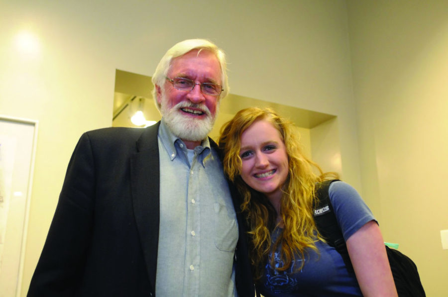 Ray+Elliott+poses+with+his+daughter%2C+Jessica.+The+Elliotts+have+been+volunteering+at+Ebertfest+for+over+a+decade.
