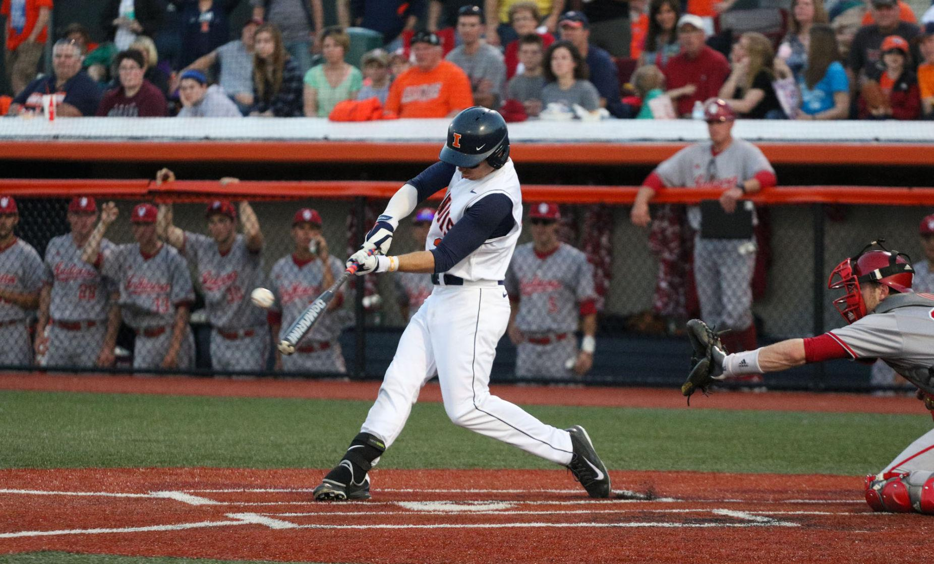 Illinois' Casey Fletcher (3) takes a swing at the ball during the baseball game vs. Indiana at Illinois Field on Friday. Illinois won 5-1.