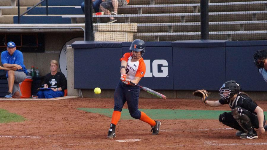 Illinois Annie Flmeing lines up for the hit during the softball game v. Indiana State at Eichelberger Field on Wednesday, April 8. Illinois won 5-3.