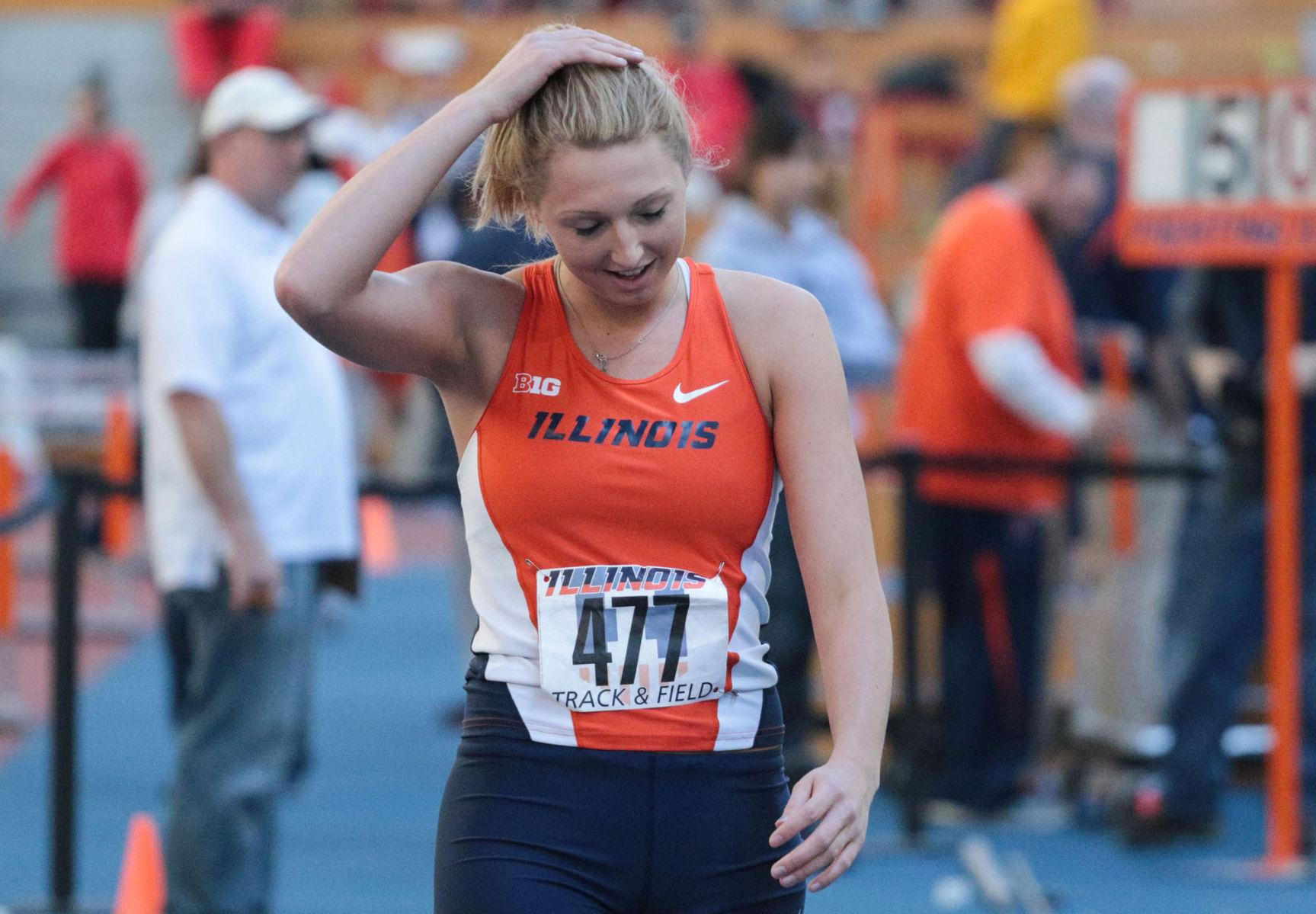 Illinois' Kandie Bloch-Jones prepares to warm-up at the Orange & Blue meet at the Armory on Feb. 21. At last year's Twilight meet, Bloch-Jones took first place in the high jump.