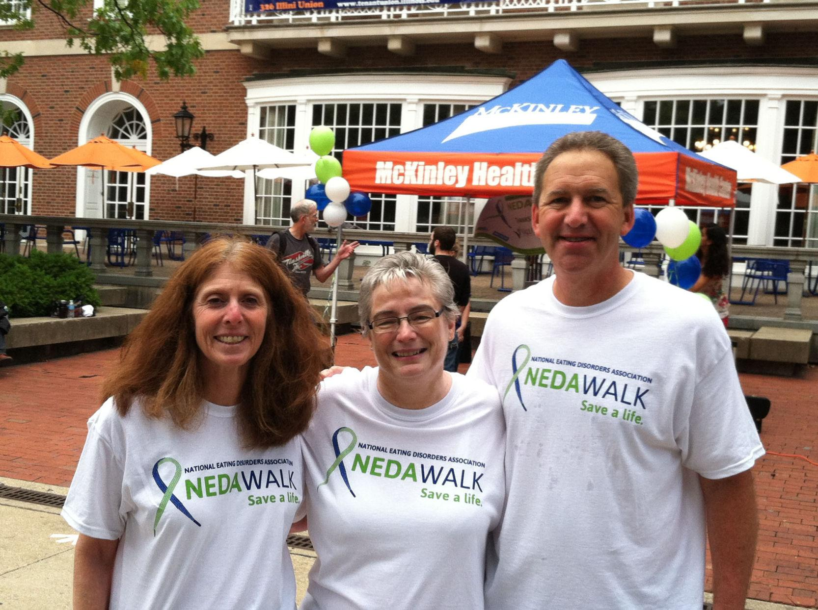 Attendants from the previous NEDA WALK in 2013. (From left to right: Lori Tabakin; Connie Langellier, clinical counselor at the University's Counseling Center; Scott Tabakin, ValueOptions Chief Financial Officer and guest speaker.)