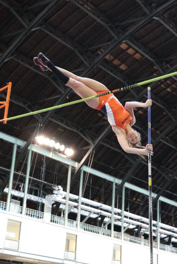 Illinois' Jennifer DeBellis attempts to vault over the pole during the Orange & Blue meet at the Armory on Saturday, Feb. 21. Illinois' women's team won 1st place out of 5.