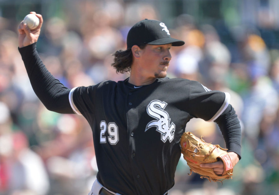 Chicago White Sox pitcher Jeff Samardzija delivers a pitch during the first inning of their spring training game against the Oakland Athletics on Sunday, at Hohokam Stadium in Mesa, Ariz.