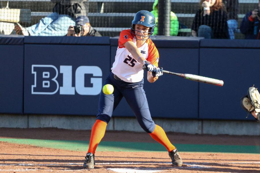 Illinois Carly Thomas (25) lets the ball go by during the softball game v. Illinois State at Eichelberger Field on Tuesday, March 31. Illinois won 5-4.