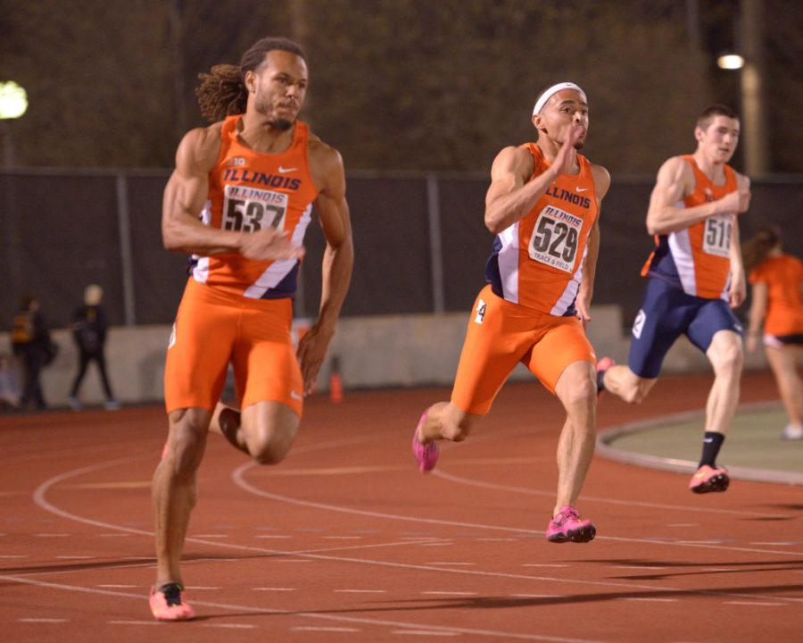 Illinois' DJ Zahn, Brandon Stryganek and David Kendziera sprint past the competition during the Men's 200 Meter Dash at the Illinois Twilight meet on Saturday.
