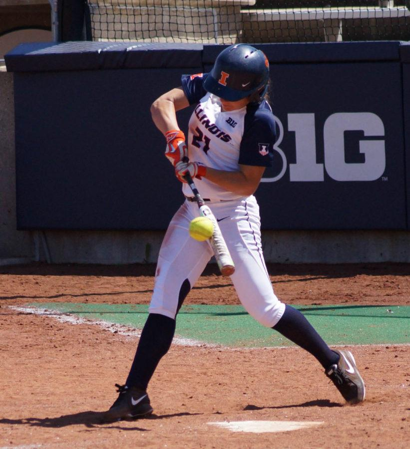 Illinois%27+Allie+Bauch+%2821%29+attempts+to+hit+the+ball+during+the+softball+game+vs.+Purdue+at+Eichelberger+Field+on+Sunday.+Purdue+won+8-7.