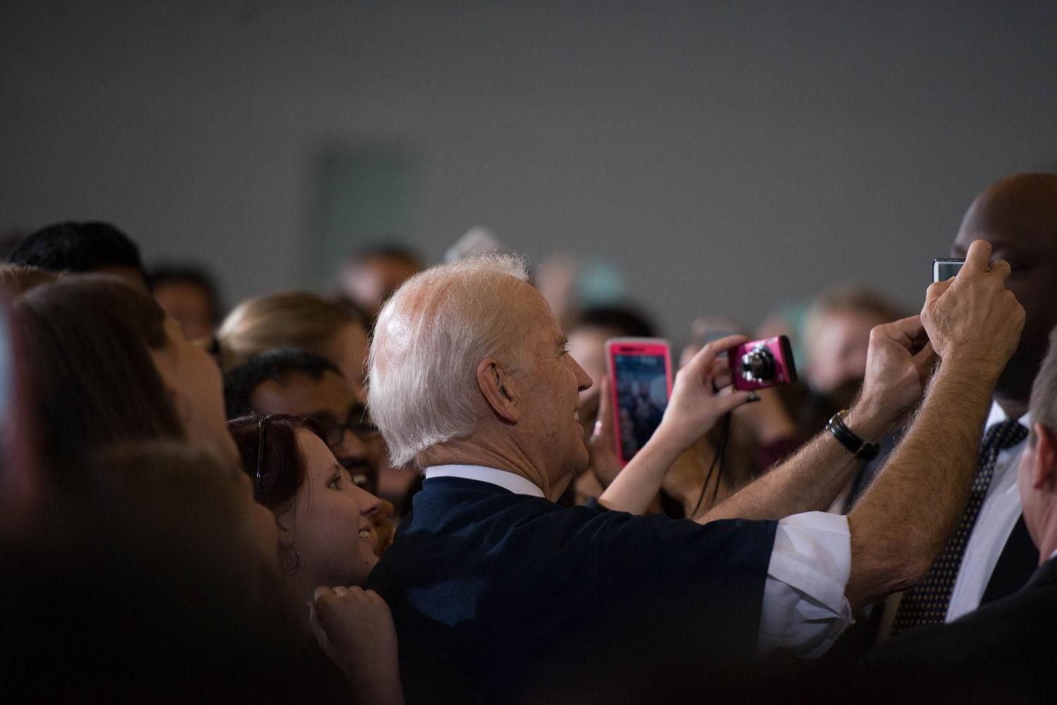 Vice President Joe Biden greets University students at Campus Recreation Center East on Thursday after speaking about the