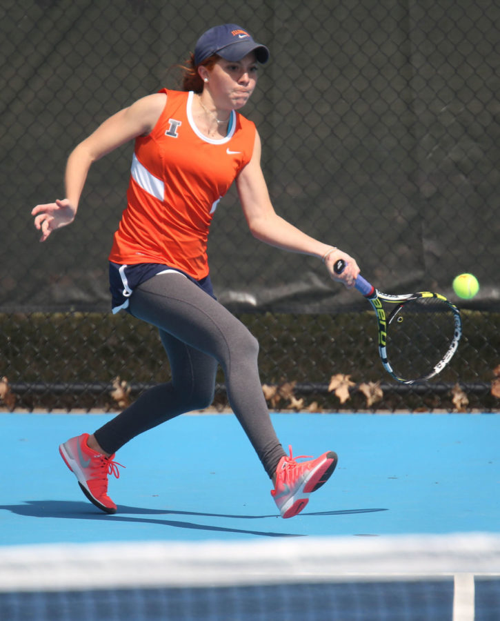 Illinois' Madie Baillon attempts to return the ball during the match against Rutgers at Atkins Tennis Center on April 5. The Illini look to continue their five-game win streak.