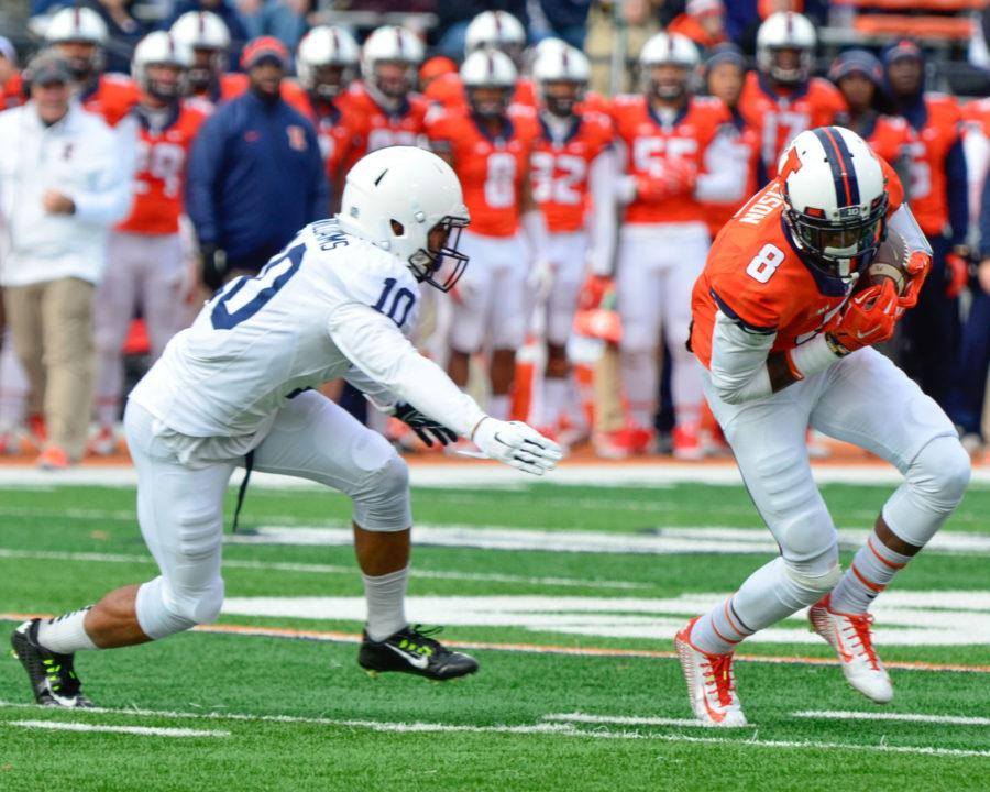 Illinois%27+Geronimo+Allison+%C2%A0carries+the+ball+during+the+game+against+Penn+State+at+Memorial+Stadium+on+Saturday%2C+Nov.+22.+The+Illini+won+16-14.