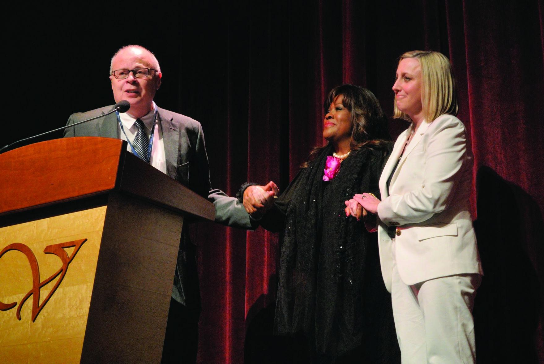Festival Director Nate Kohn, Executive Producer and Host Chas Ebert and Associate Festival Director Mary Susan Britt welcome viewers to the 16th Annual Roger Ebert's Film Festival on opening night.