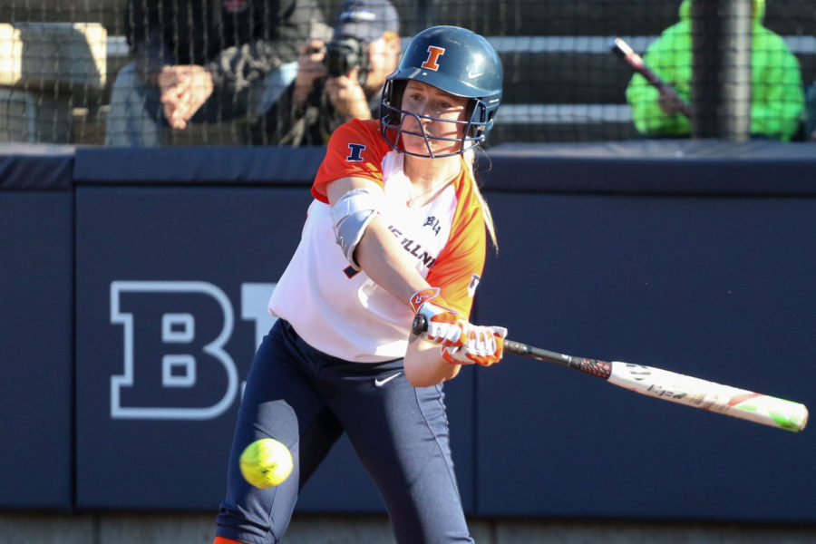 Illinois' Jade Vecvanags fakes a swing during softball 5-4 victory against Illinois State at Eichelberger Field on Tuesday.