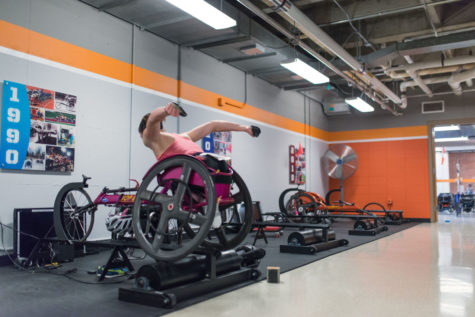 An athlete makes use of the recently upgraded Paralympic facility at the University on Friday, April 3.