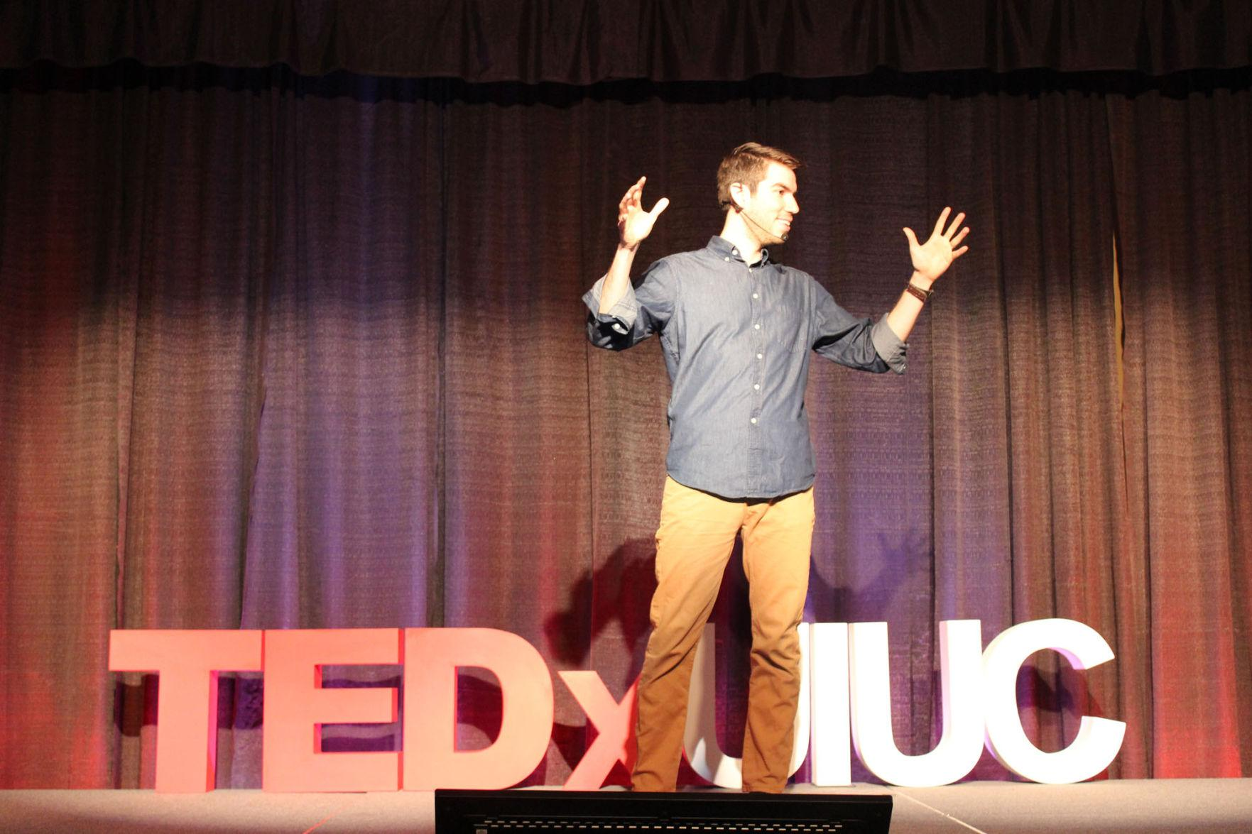 Esteban Gast, comedian and social entrepreneur, gives a presentation at the I Hotel and Conference Center during Saturday's TEDxUIUC 2015: At Crossroads event. The next TEDxUIUC event will be on April 23, with the theme