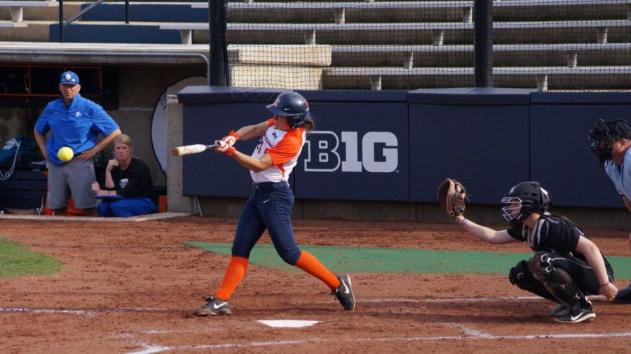 Illinois' Allie Bauch lines up for the hit during the softball game vs. Indiana State at Eichelberger Field on Wednesday.