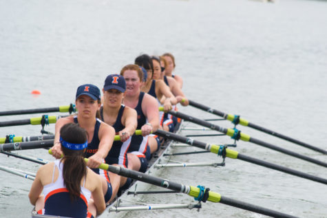 Women's Novice 8+ rowing on Lake Lanier in Georgia over spring break in March 2014.