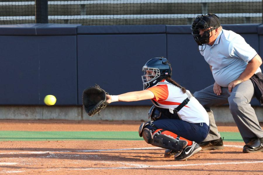 Illinois' Jess Perkins reaches out to catch the pitch during the softball game vs. Wisconsin at Eichelberger Field on April 17.