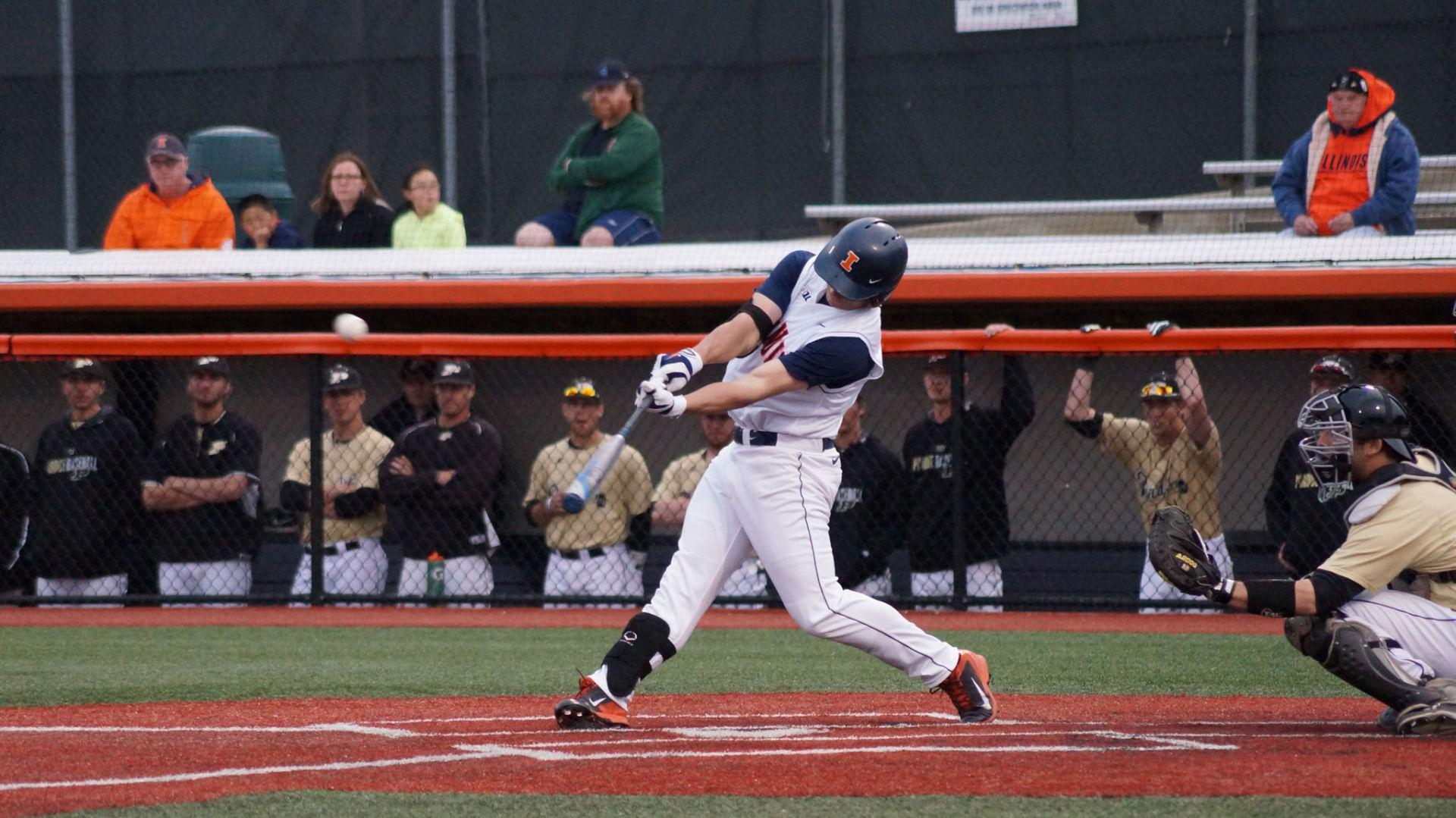 Reid Roper makes a hit during the game against Purdue at Illinois Field on Monday. Roper led off the fourth inning with his second triple of the season, tying the game. The close finish secured the team's best start in franchise history.