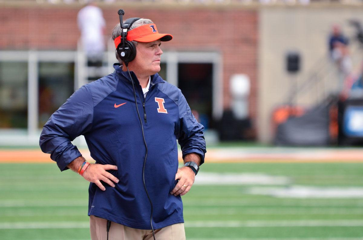 Illinois' Tim Beckman during the game against Western Kentucky at Memorial Stadium on Saturday, Sept. 6, 2014. The Illini won 42-34. Beckman is the target of accusations of mistreatment of former players
