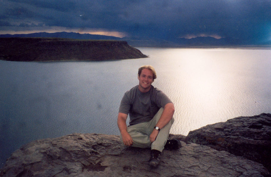 Mark Wolters in 1998 at the Bolivia-Peru border after studying abroad his first semester of senior year.