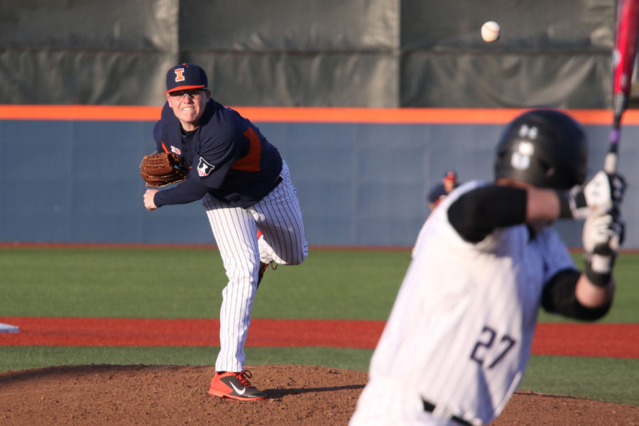 Illinois' Kevin Duchene throws a pitch during the baseball game vs. Northwestern at Illinois Field on Friday. Illinois won 3-1.