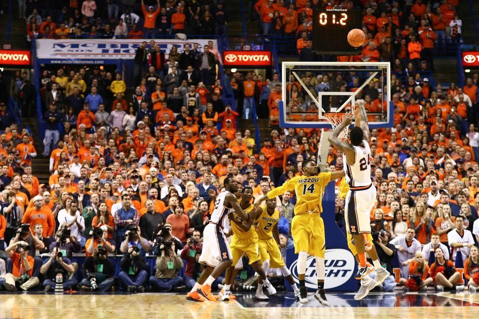 Illinois' Rayvonte Rice (24) takes the game-winning shot during the game against Missouri at Scottrade Center in St. Louis, Missouri on Dec. 20, 2014. The Illini won 62-59.