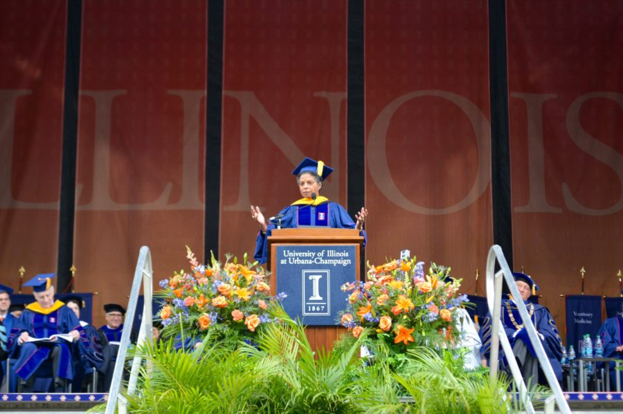 Risa+J.+Lavizzo-Mourey%2C+keynote+commencement+speaker%2C+addresses+graduates+at+the+campus-wide+commencement+ceremony+on+Saturday%2C+May+16.