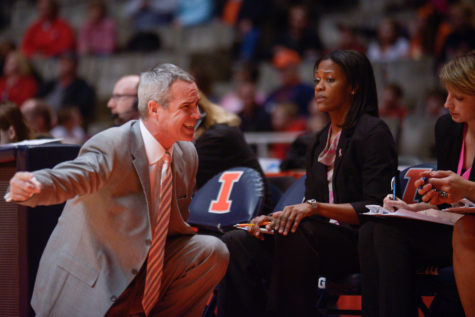 Illinois' Mike Divilbiss, former associate head coach, offers advice to his team during the game against Ohio State at the State Farm Center on Feb. 14. The Illini won 66-55.
