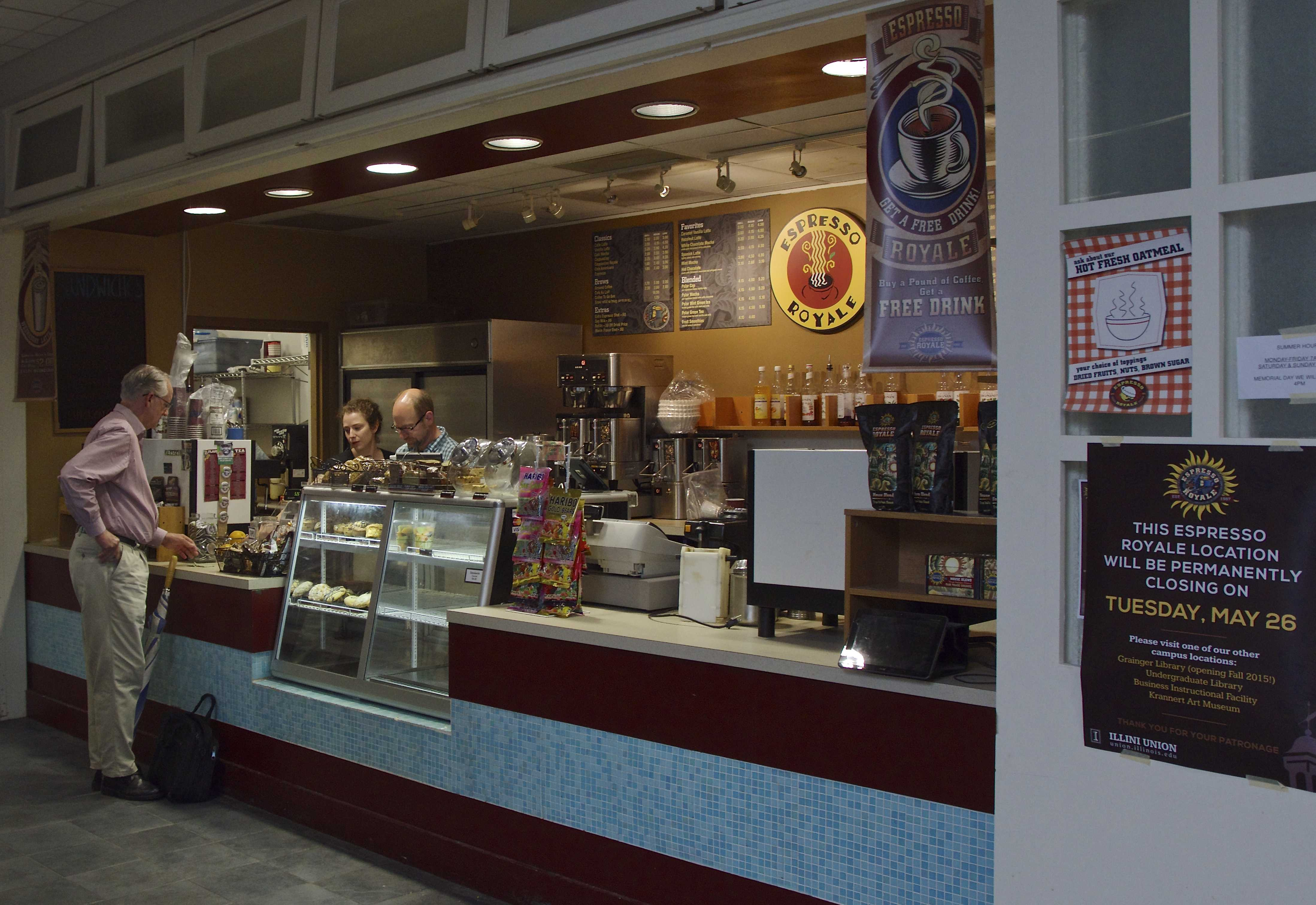 The Espresso Royale located in the Illini Union Courtyard Cafe operated for the last time on Tuesday, May 26, 2015. A Starbucks will open in the same location.
