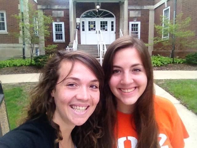 Lauren Reed (right), senior in LAS, and friend Michelle Rudin (left) in front of Busey-Evans Residence Hall. Reed says she is excited about graduating in May but is also nostalgic about her experiences at the University.