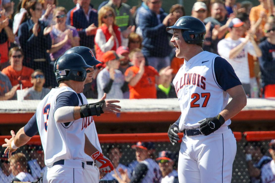 Illinois' Pat McInerney celebrates his home run hit during the baseball game vs. Purdue at Illinois Field on April 11. The Illini were assigned the No. 6 national seed and will host a regional in the NCAA tournament.