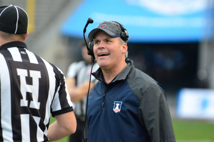 Illinois' head coach Tim Beckmanyells at a referee for a penalty call during the Zaxby's Heart of Dallas Bowl against Louisiana Tech at Cotton Bowl Stadium in Dallas, Texas on Friday, Dec. 26, 2014. The Illini lost 35-18.
