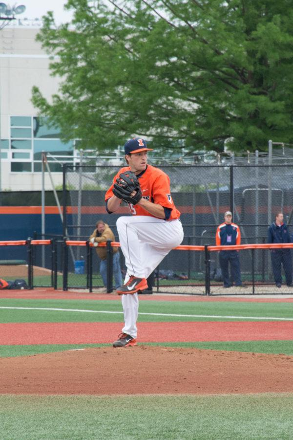 Illini pitcher Drasen Johnson winding up during his 9-inning shutout against Notre Dame at Illini Field on May 31.