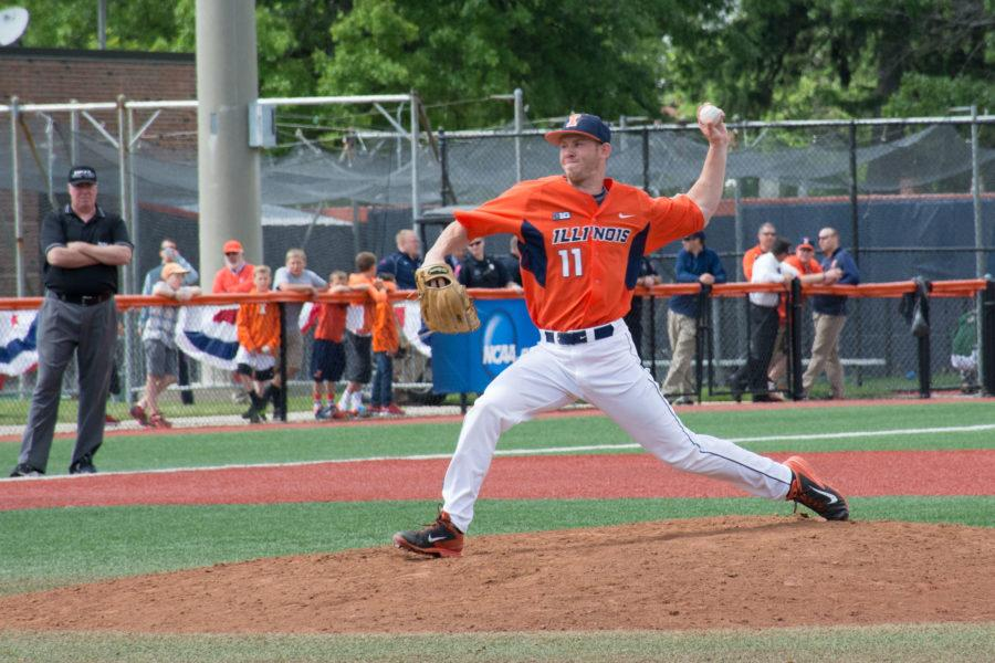 Illini pitcher Tyler Jay during a shutout inning in Illinois' victory over Wright State at Illinois Field on June 1.