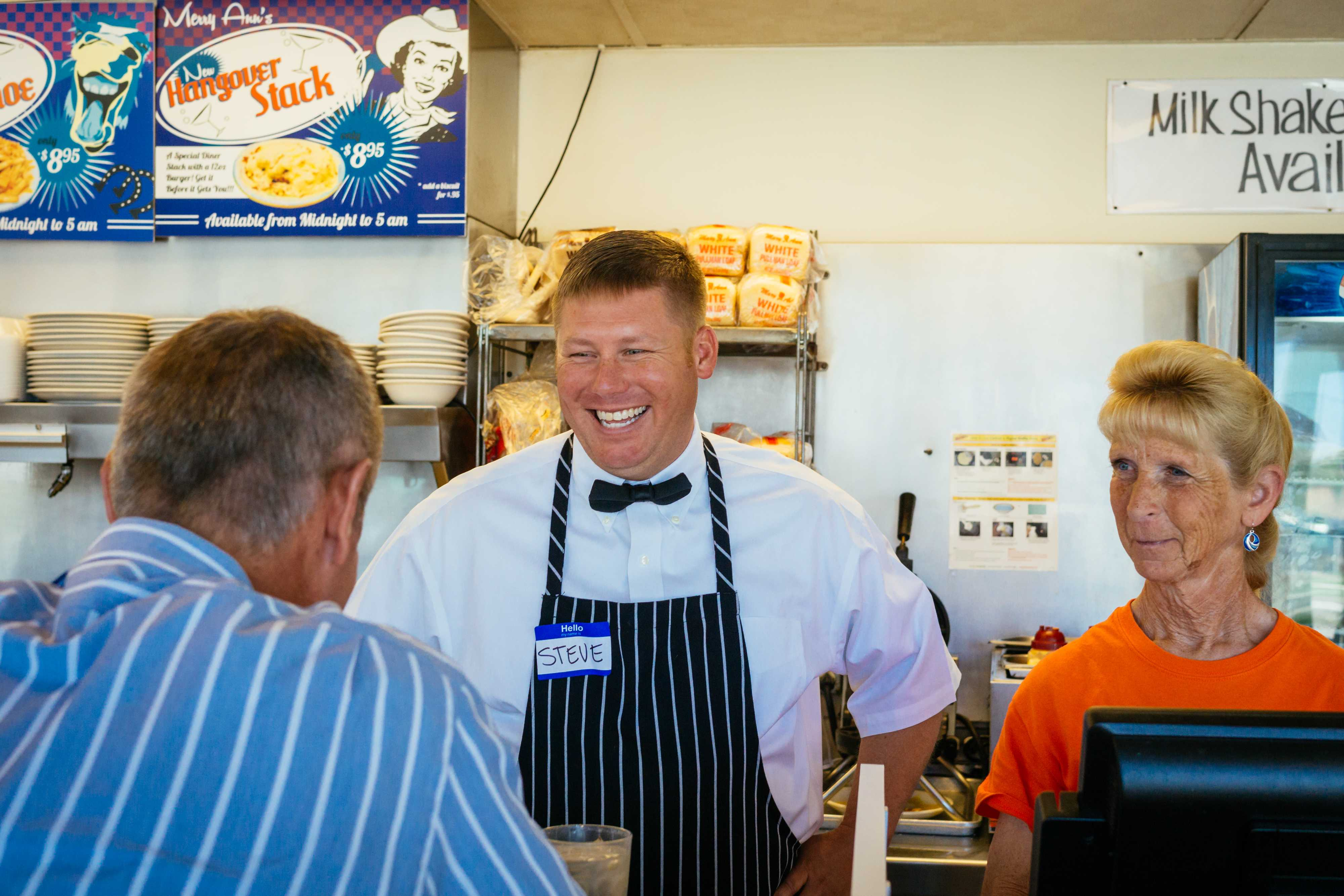 Steve Gardner, a financial planner, chats with a customer at Merry Ann's Diner on Tuesday,June 2.