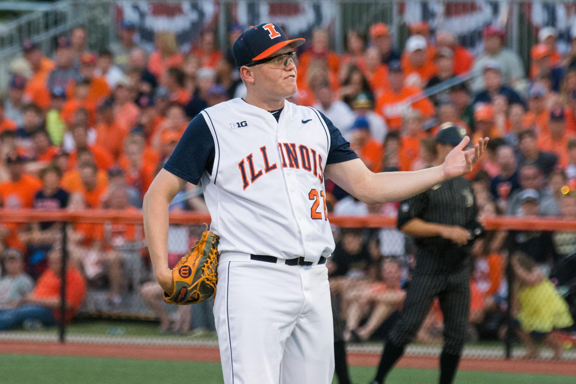 Illinois' starting pitcher Kevin Duchene shows his frustration during Vanderbilt's convincing 13-0 victory over the Fighting Illini during their first game of the NCAA Super Regionals at Illinois Field on June 6.