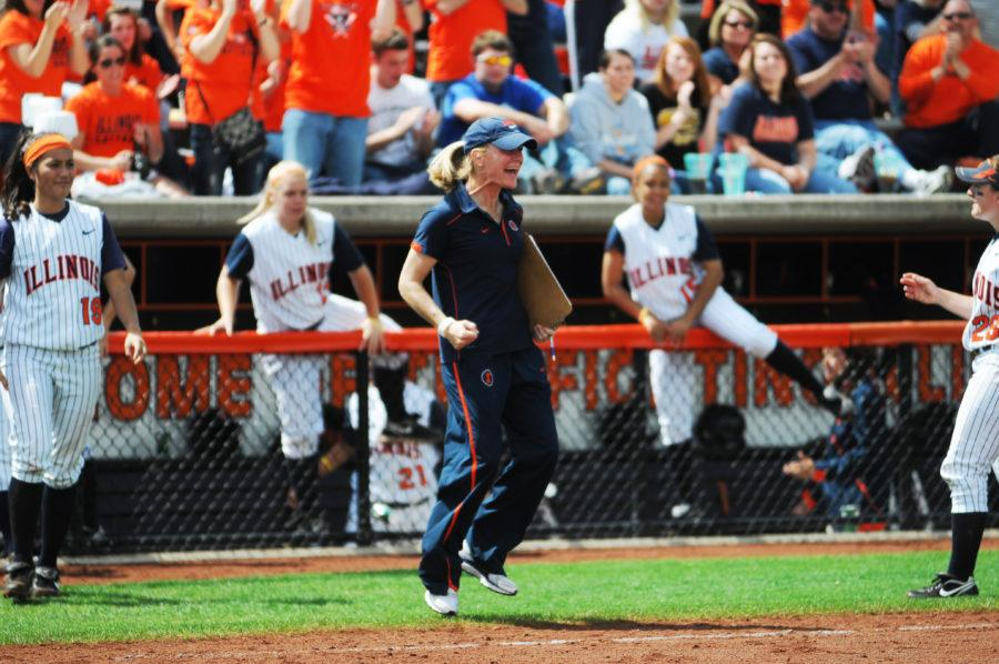 Coach Terri Sullivan celebrates after winning the game against Western at Eichelberger Field on Saturday, May 7, 2011.