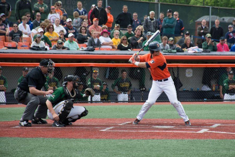 Illini first baseman David Kerian at bat in Illinois' victory over Wright State at Illinois Field on June 1.