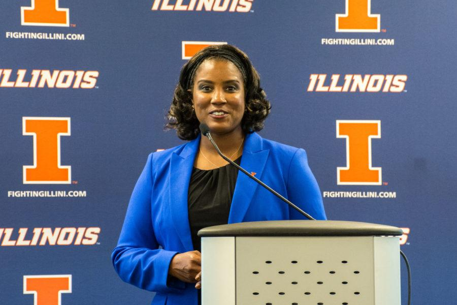 Tyra Perry, head coach of the Illinois softball team, addresses the media at a press conferenceon Thursday,June 25.